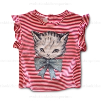 Little Wings Berry & Cream Kitten Cuteness Tee
