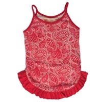 Little Wings Cream & Berry Heart Paisley Frilled Singlet
