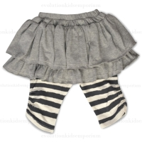 Little Wings Grey & Cream Hand Drawn Stripe Leggings w/Skirt