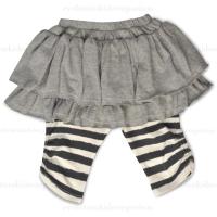 Little Wings Grey & Cream Hand Drawn Stripe Leggings w/Skirt