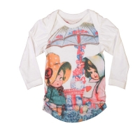 Paper Wings Cream/Multi Girly Border Puff Sleeve Tee
