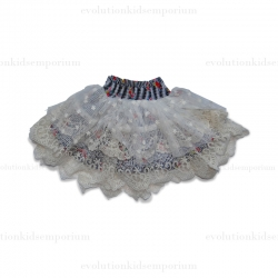Paper Wings Cream & Multi Floral Stripe w/Lace Skirt