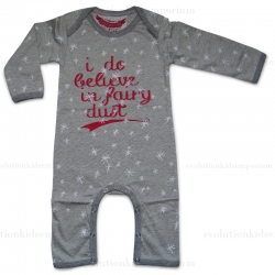 Paper Wings Grey Marle & Red I Do Believe In Fairy Dust Romper