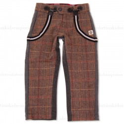 Mini Shatsu Tweed Herringbone 2-Face Suspender Pants