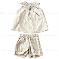 Pimalinda Grey Woven Crochet Dress w/Bloomers