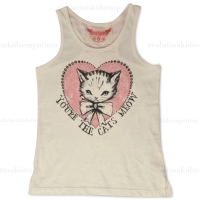 Paper Wings Cream & Pink Metallic You're The Cats Meow Racer Back Singlet