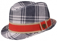 Fore!! Axel & Hudson Navy/Cream Paper Straw Fedora