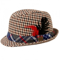 Fore!! Axel & Hudson Mixed Plaid Feather Fedora