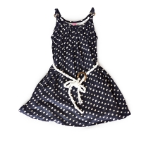 Stella Duchess Navy & White Polka Dot Shirred Dress