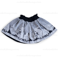 Little Wings Black/Cream Chicken and Bunny Shirred Skirt