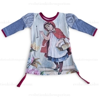 Little Wings Indigo/Cream Red Riding Hood Jersey Puff Sleeve Organic Dress