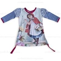 Little Wings Indigo/Cream Red Riding Hood Jersey Puff Sleeve Organic Dress